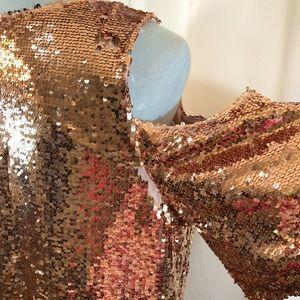 b424eed2153673 INC International Concepts Tops - INC Rose Gold Cold Shoulder Sequin Top